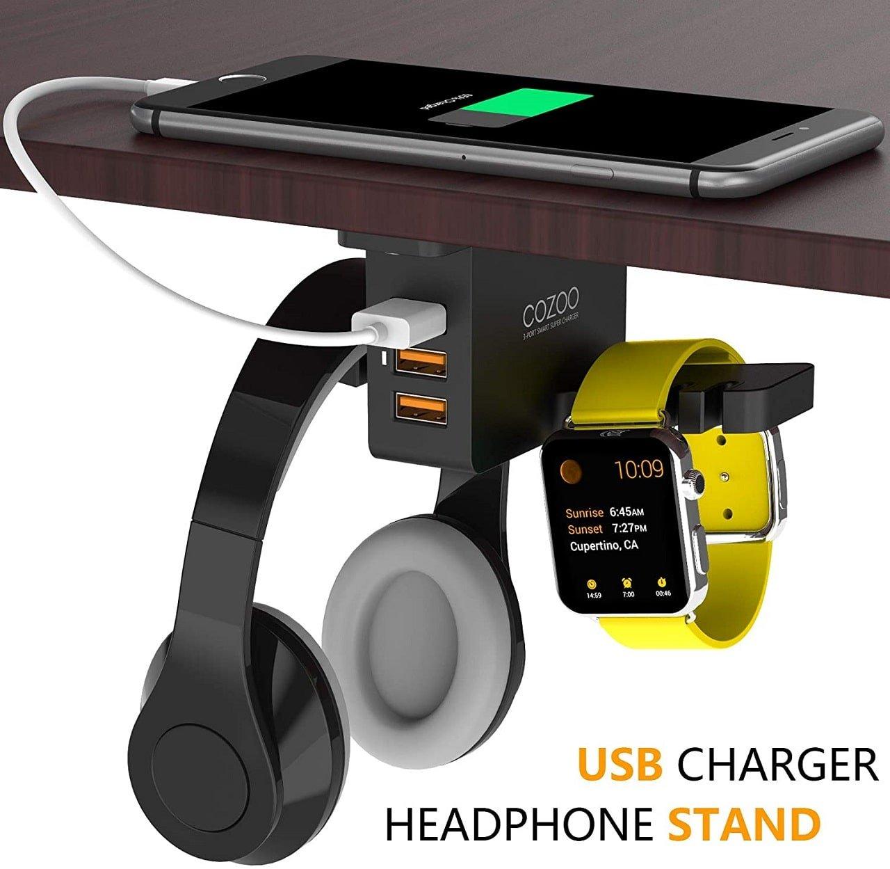 COZOO Headphone Hanger with USB