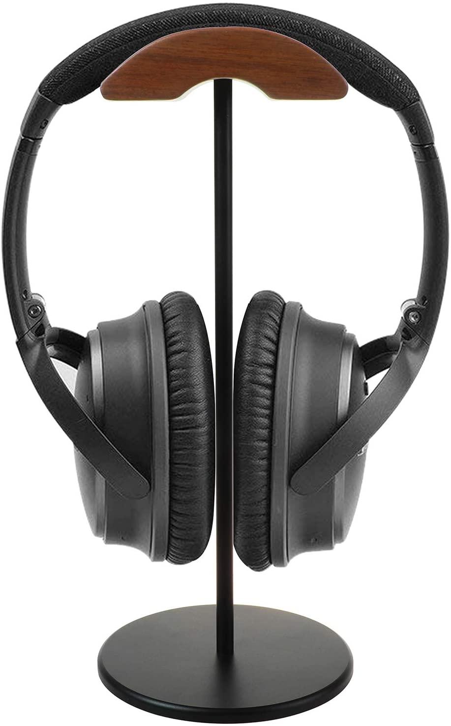 GreatCase Walnut Wood Headphone Black Stand Rack