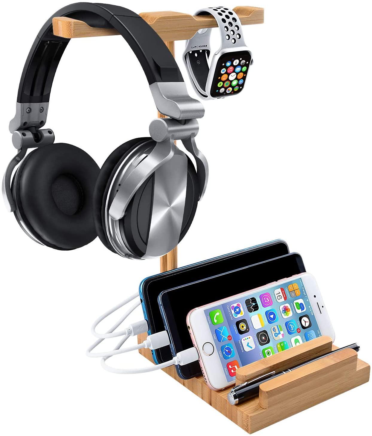 World Backyard Bamboo Wood Headset Stand