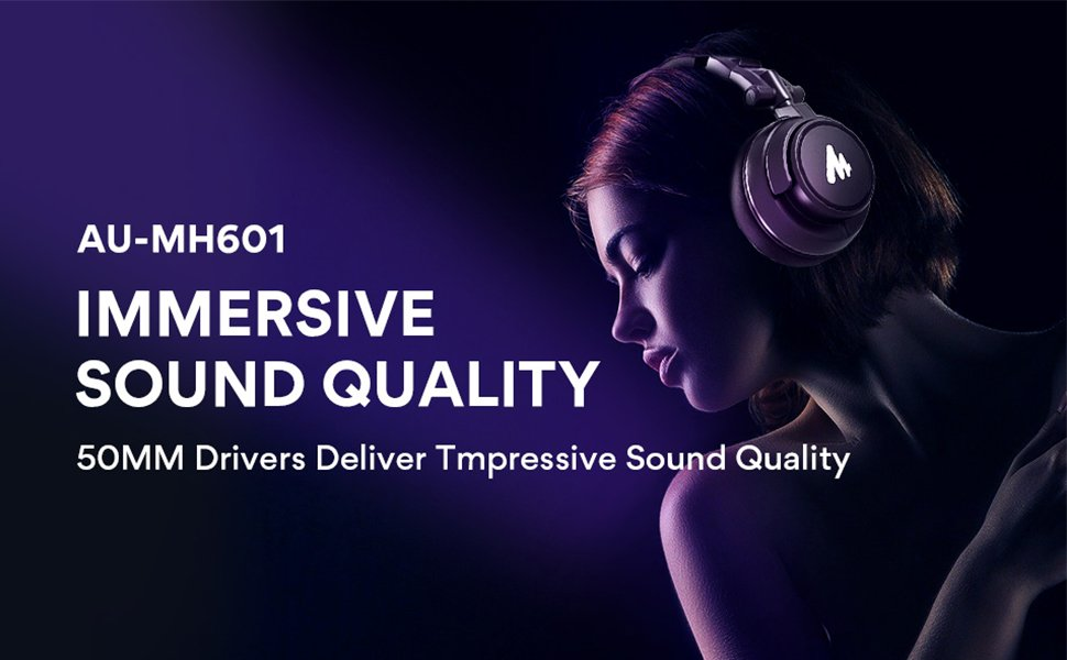 MAONO AU-MH601 50MM Drivers Over Ear Stereo Monitor Closed Back Studio Headphone Sound Quality