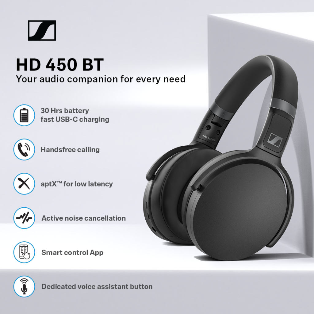 Sennheiser HD 450BT features - Best wireless headset for video conferencing.